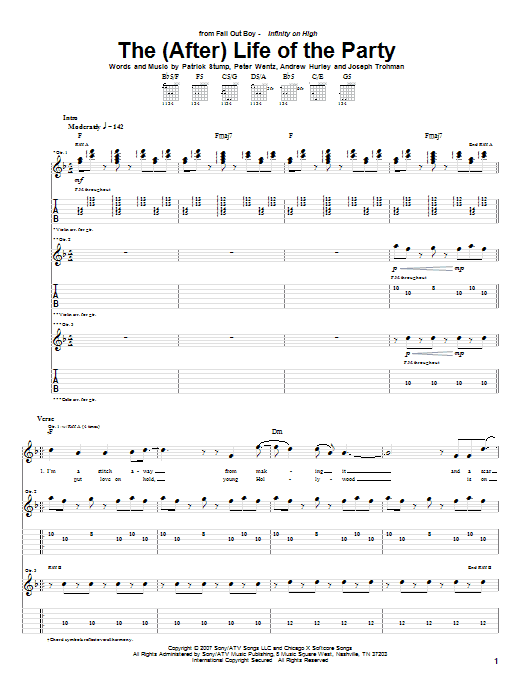 Tablature guitare The (After) Life Of The Party de Fall Out Boy - Tablature Guitare