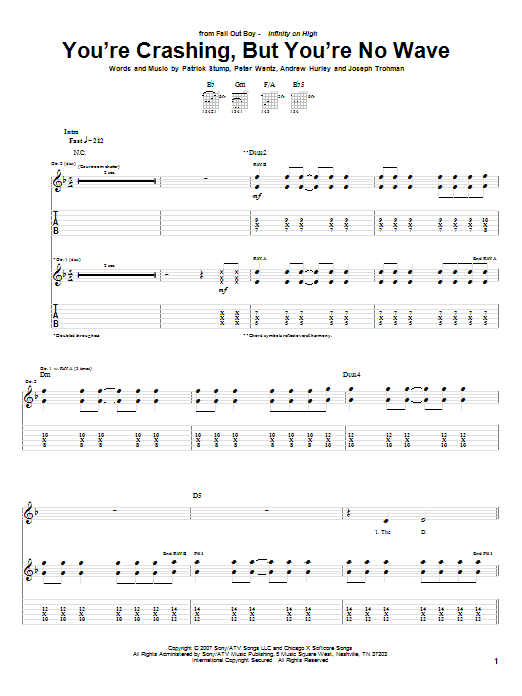 Tablature guitare You're Crashing, But You're No Wave de Fall Out Boy - Tablature Guitare