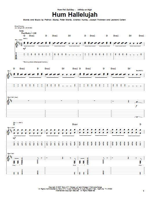 Hum Hallelujah Sheet Music | Fall Out Boy | Guitar Tab