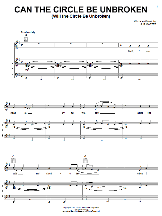Can The Circle Be Unbroken (Will The Circle Be Unbroken) Sheet Music