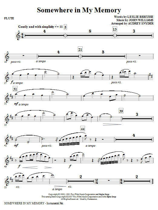 page one of Somewhere in My Memory (arr. Audrey Snyder) - FluteASALTTEXT
