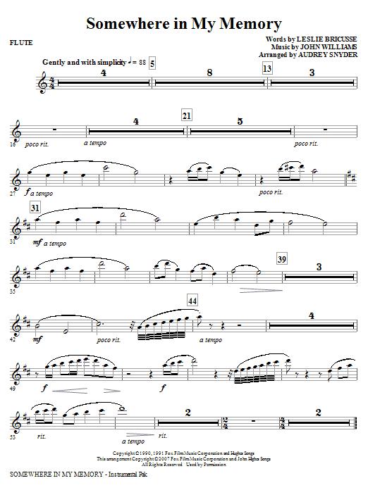 Somewhere in My Memory (arr. Audrey Snyder) - Flute (Choir Instrumental Pak)