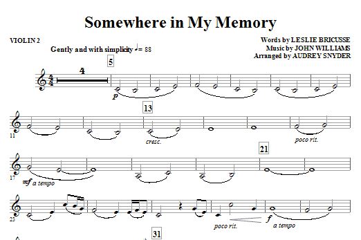 page one of Somewhere in My Memory (arr. Audrey Snyder) - Violin 2ASALTTEXT