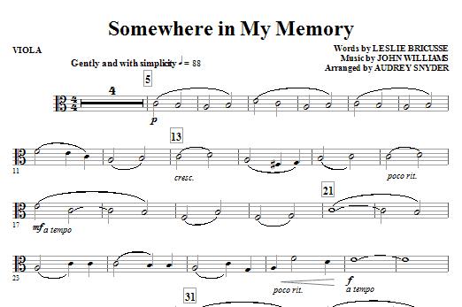 Somewhere in My Memory (arr. Audrey Snyder) - Viola Sheet Music