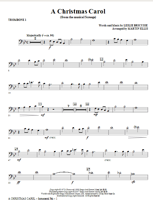 A Christmas Carol - Trombone 1 Sheet Music