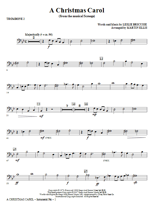 A Christmas Carol - Trombone 2 Sheet Music