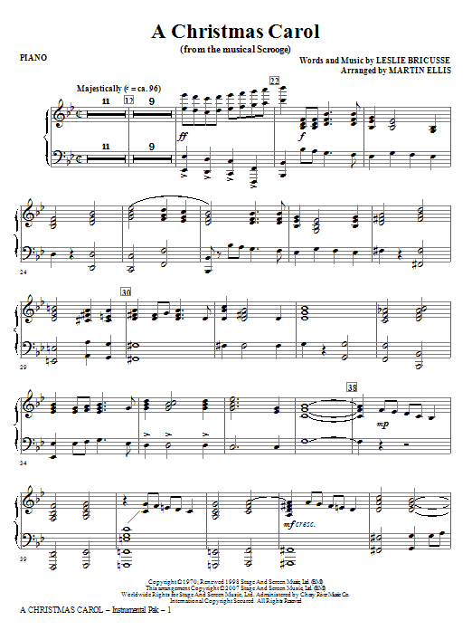 A Christmas Carol - Piano Sheet Music