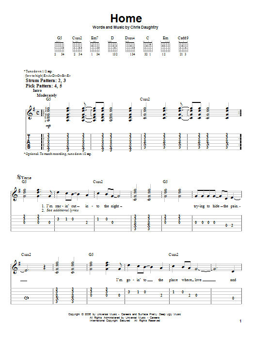 Home (Easy Guitar Tab)
