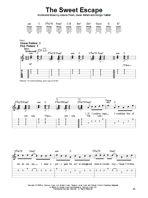 Tablature guitare The Sweet Escape de Gwen Stefani featuring Akon - Tablature guitare facile