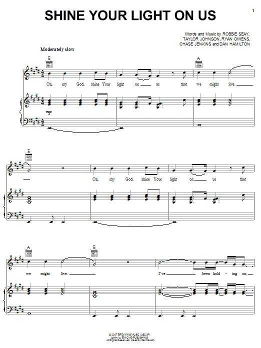 Shine Your Light On Us (Piano, Vocal & Guitar (Right-Hand Melody))