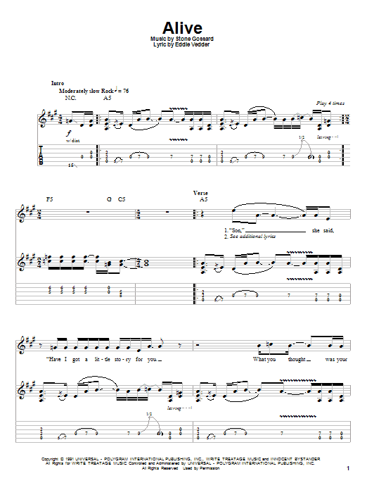 Tablature guitare Alive de Pearl Jam - Autre