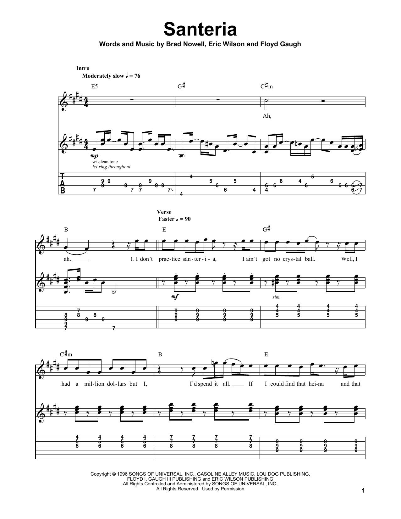 Tablature guitare Santeria de Sublime - Playback Guitare