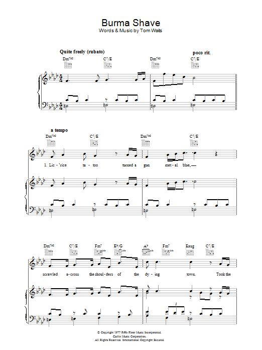 Burma Shave (Piano, Vocal & Guitar)