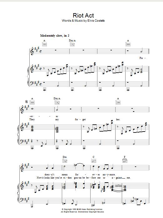 Riot Act (Piano, Vocal & Guitar)