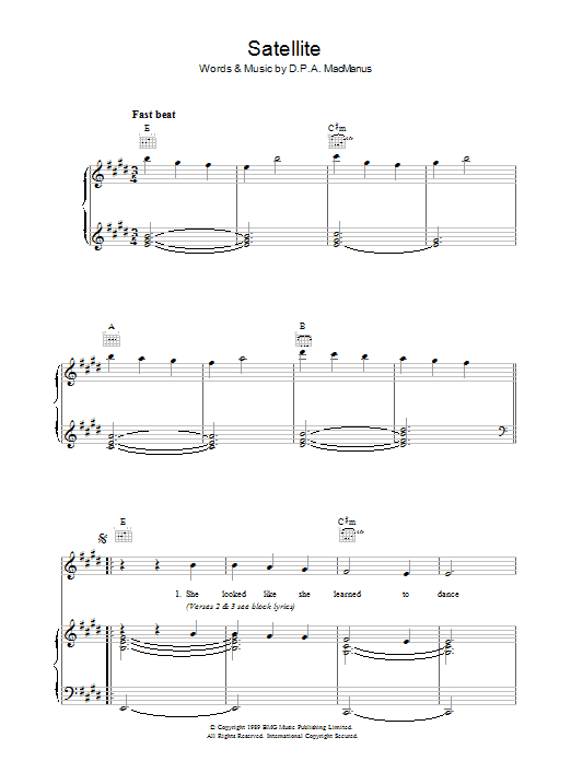 Satellite (Piano, Vocal & Guitar)