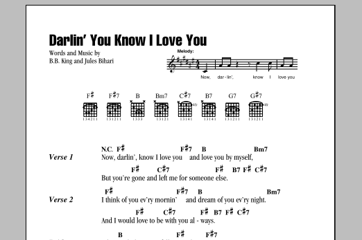 Darlin You Know I Love You By Bb King Guitar Chordslyrics