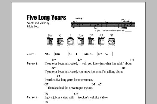 Five Long Years Sheet Music Direct