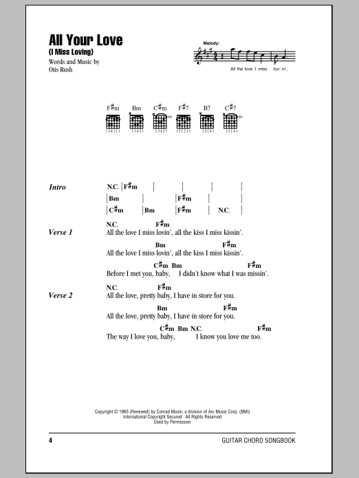All Your Love (I Miss Loving) Sheet Music
