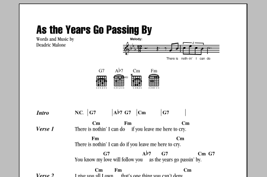 As The Years Go Passing By Sheet Music
