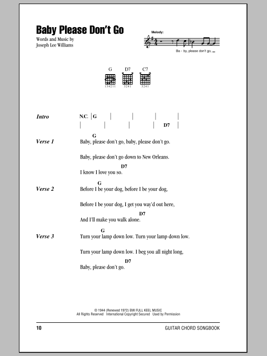 Baby, Please Don\'t Go sheet music by Them (Lyrics & Chords – 84136)