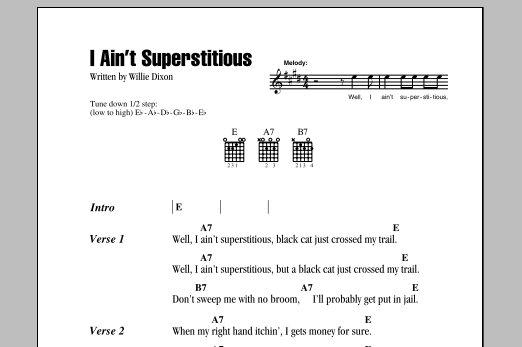 I Ain't Superstitious Sheet Music