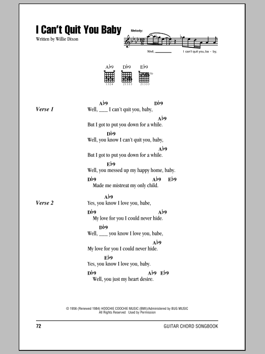 I Can\'t Quit You Baby by Otis Rush - Guitar Chords/Lyrics - Guitar ...