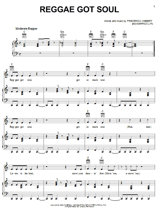 Reggae Got Soul (Piano, Vocal & Guitar (Right-Hand Melody))