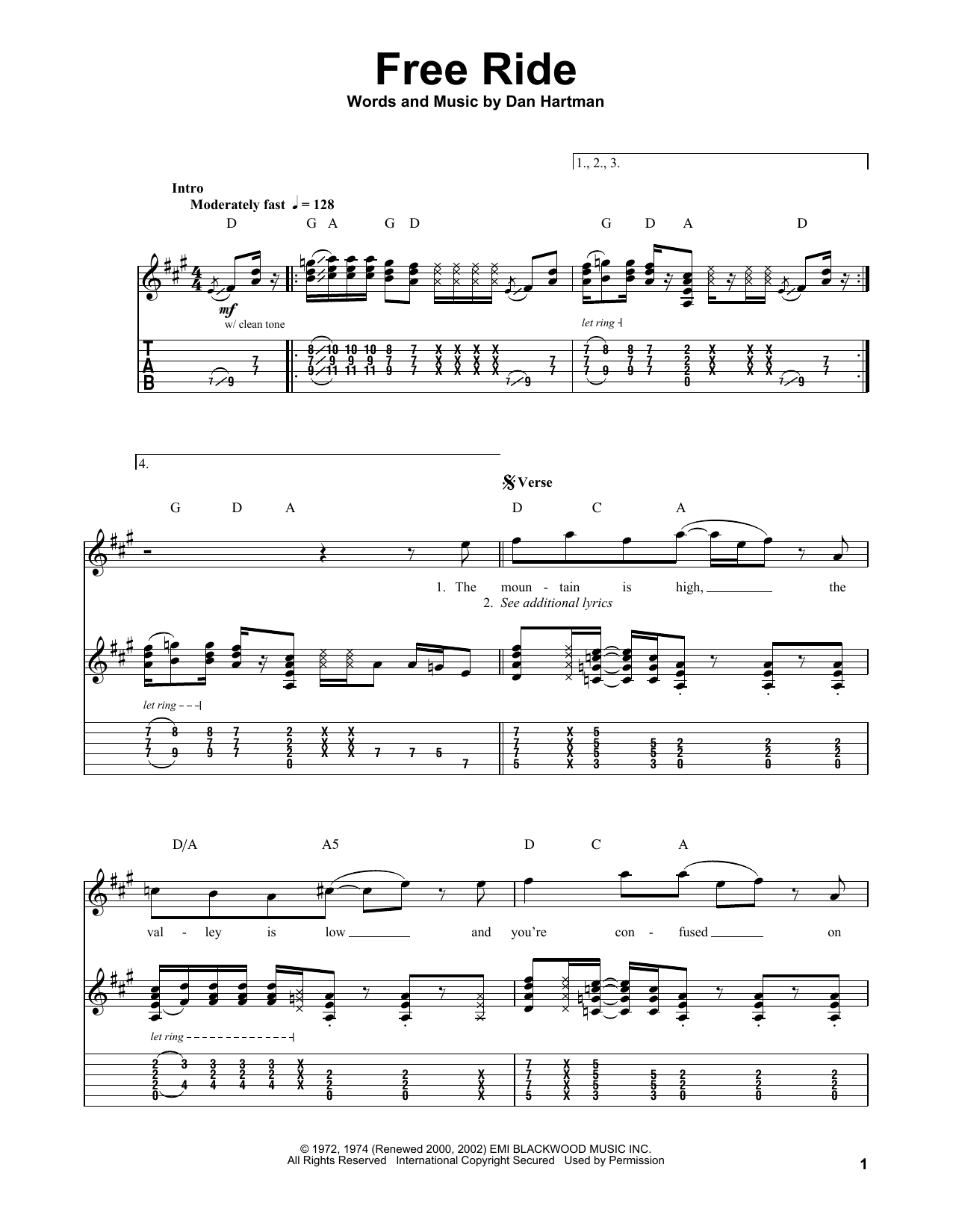 Free Ride (Guitar Tab (Single Guitar))