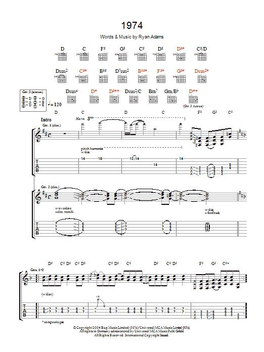 1974 Sheet Music