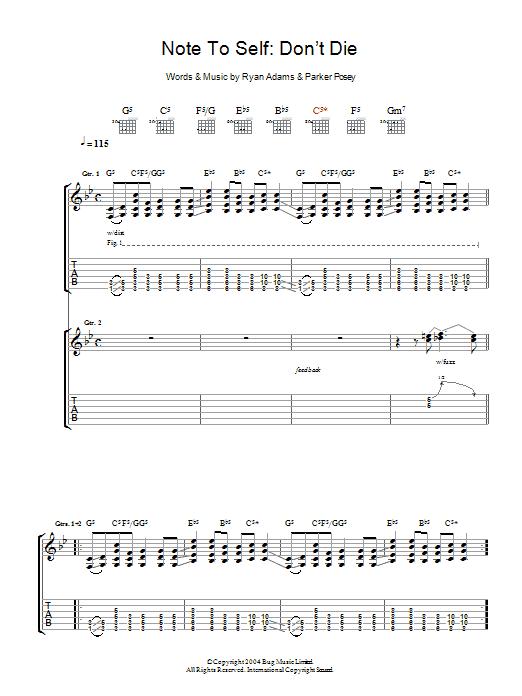 Note To Self: Don't Die (Guitar Tab)