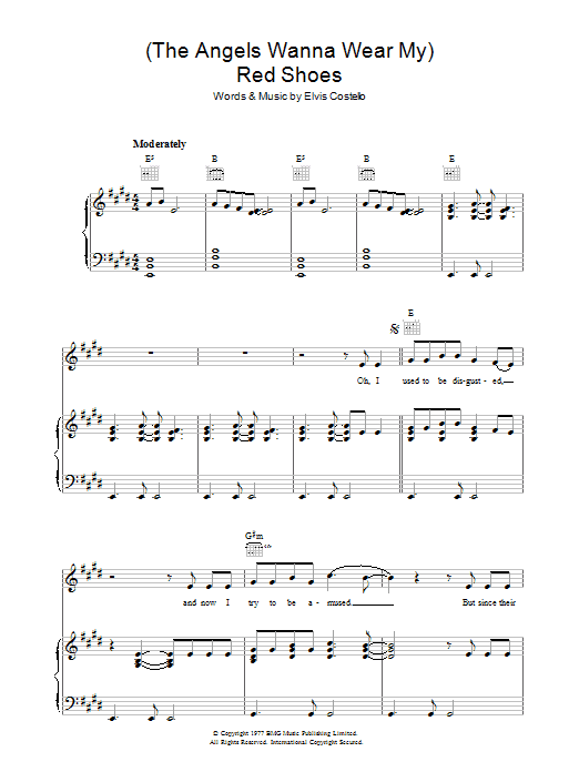 (The Angels Wanna Wear My) Red Shoes Sheet Music