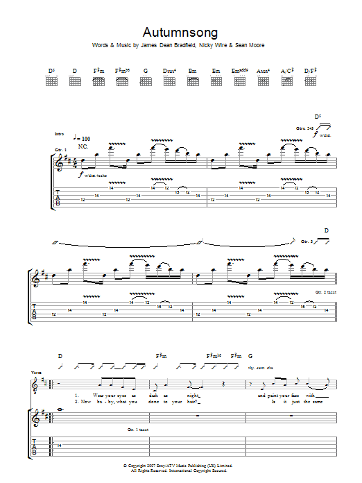 Autumnsong (Guitar Tab)
