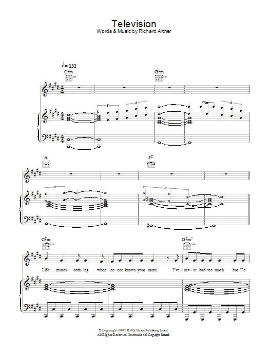 Television (Piano, Vocal & Guitar)