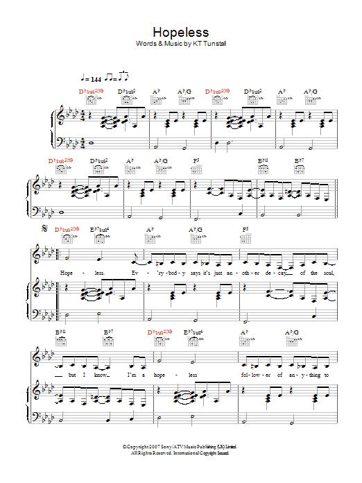Hopeless (Piano, Vocal & Guitar)