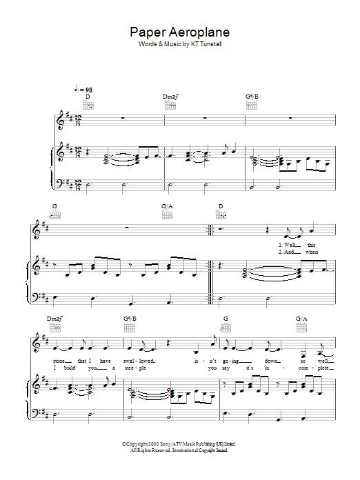 Paper Aeroplane (Piano, Vocal & Guitar)