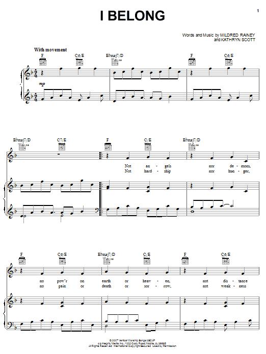 I Belong (Piano, Vocal & Guitar (Right-Hand Melody))