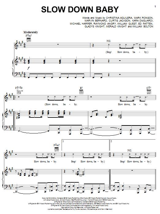 Partition piano Slow Down Baby de Christina Aguilera - Piano Voix Guitare (Mélodie Main Droite)