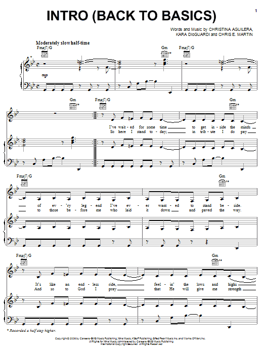 Partition piano Intro (Back To Basics) de Christina Aguilera - Piano Voix Guitare (Mélodie Main Droite)