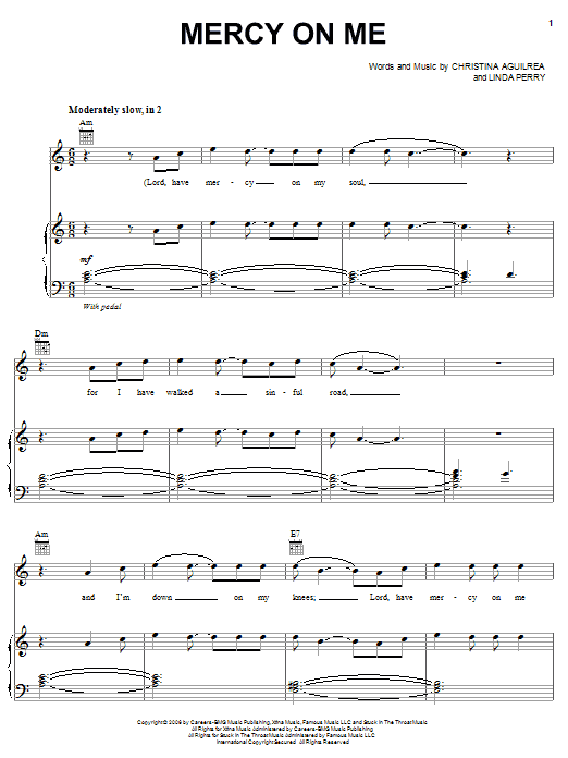 Mercy On Me Sheet Music