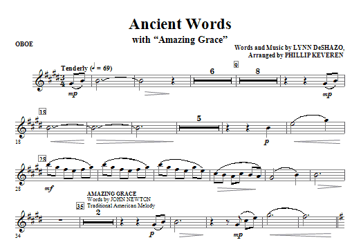 Ancient Words (with Amazing Grace) - Oboe Sheet Music
