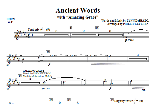 Ancient Words (with Amazing Grace) - Horn in F (Choir Instrumental Pak)