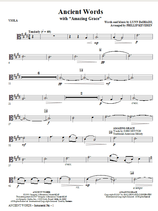 Ancient Words (with Amazing Grace) - Viola (Choir Instrumental Pak)