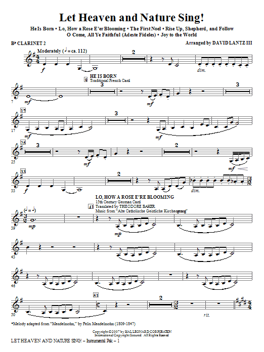 Let Heaven And Nature Sing! - Bb Clarinet 2 (Choir Instrumental Pak)