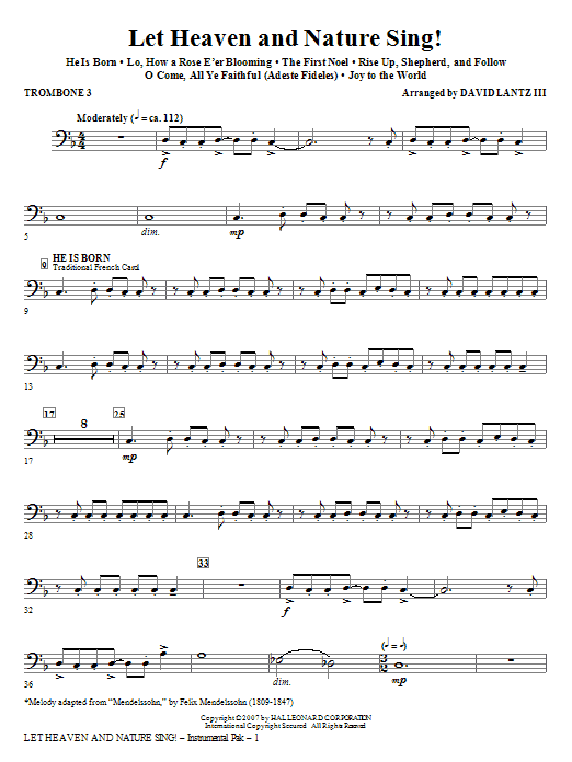 Let Heaven And Nature Sing! - Trombone 3 Sheet Music