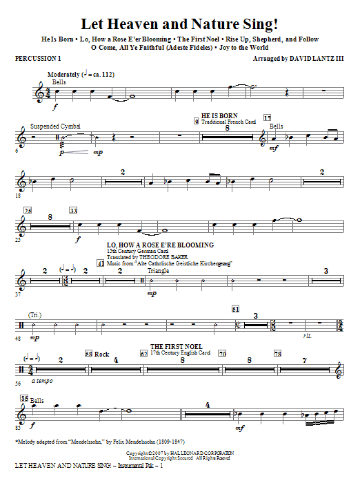 Let Heaven And Nature Sing! - Percussion 1 Sheet Music