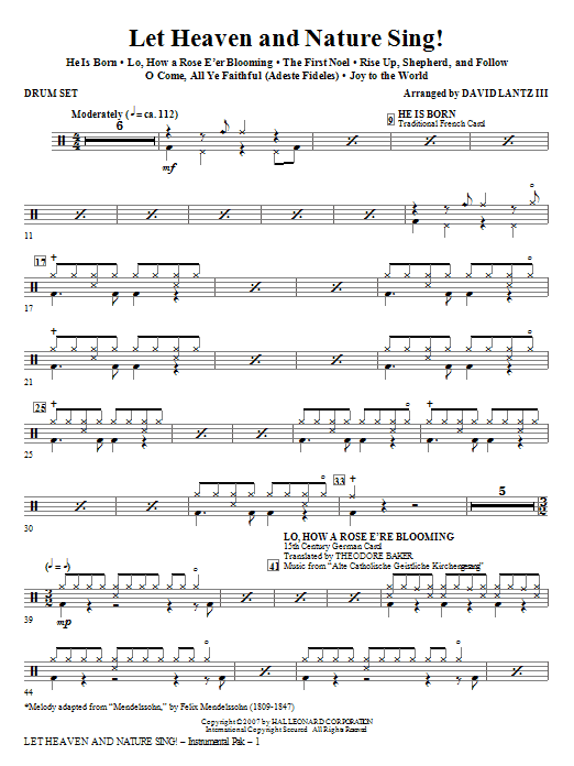 Let Heaven And Nature Sing! - Drum Set Sheet Music
