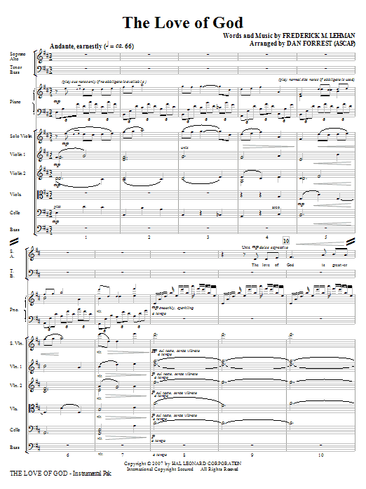 The Love Of God (COMPLETE) sheet music for orchestra/band (Special) by Frederick M. Lehman, Meir Ben Isaac Nehorai and Dan Forrest. Score Image Preview.