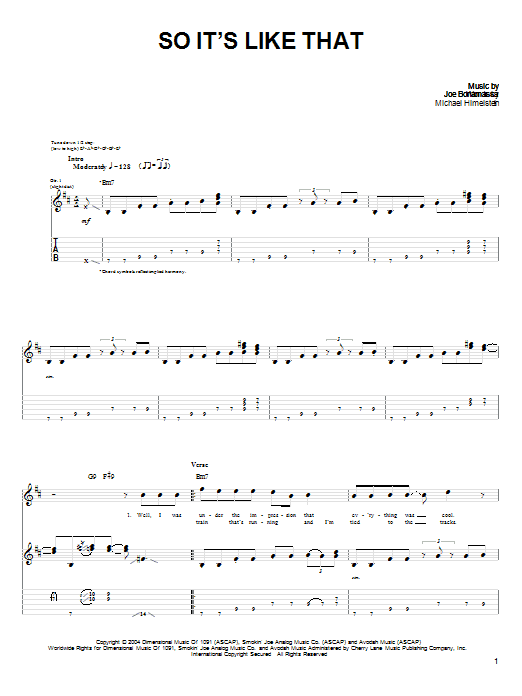 Tablature guitare So, It's Like That de Joe Bonamassa - Tablature Guitare