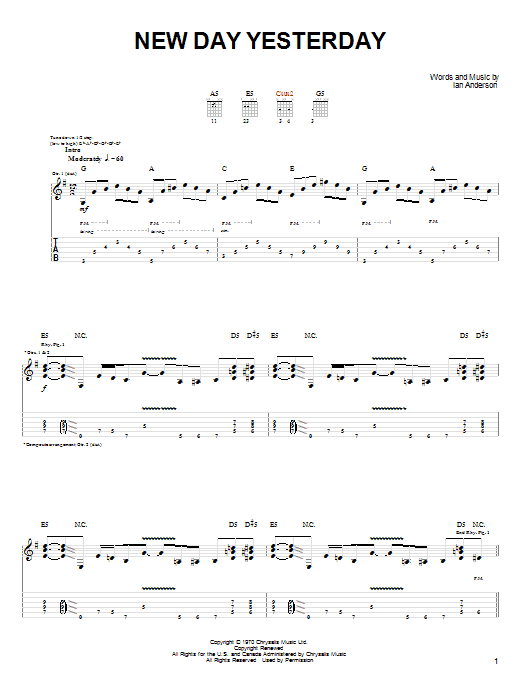 Tablature guitare New Day Yesterday de Joe Bonamassa - Tablature Guitare