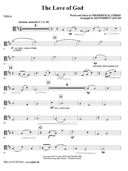 The Love Of God - Viola Sheet Music